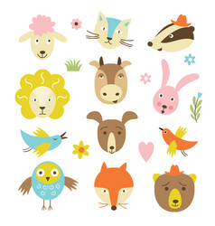 cute cartoon animals set vector image vector image