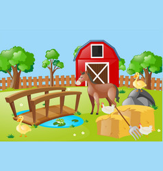 farm scene with animals in the field vector image