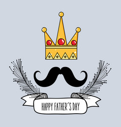 father day card with mustache and ribbon design vector image