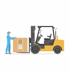 forklift truck with box vector image