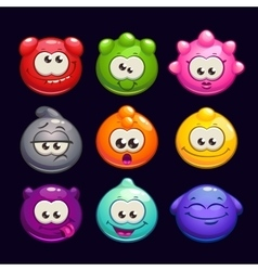 Funny cartoon jelly round characters set vector