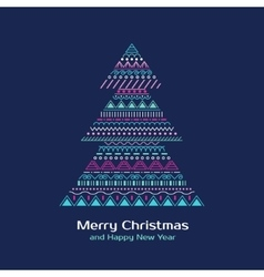 Greeting card with colored christmas tree in vector