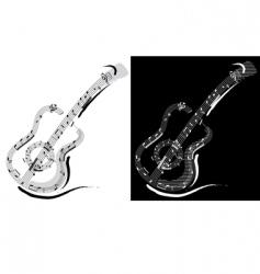 guitar emblem vector image vector image