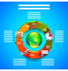 Logistics infographics objects in arrows around vector image vector image