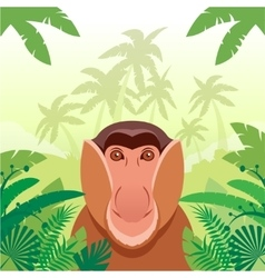 Long-nosed monkey on the jungle background vector