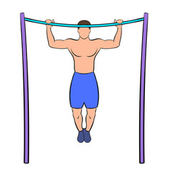 man pulling up on horizontal bar icon cartoon vector image vector image