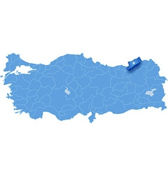 Map of turkey rize vector