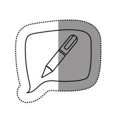 Monochrome contour sticker with pen icon in square vector