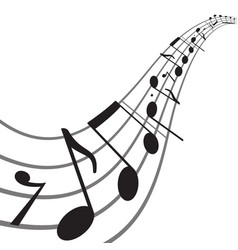 music notes on wavy staff vector image