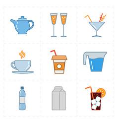 nine modern flat bar icons vector image vector image