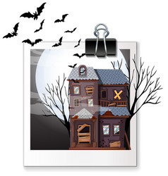 Photo of haunted house at night vector