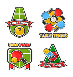 Ping pong table tennis icons set for sport vector