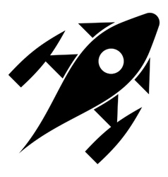Rocket with porthole icon simple style vector