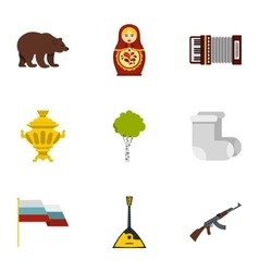 Russia country symbols icons set flat style vector