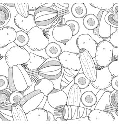 Seamless black and white pattern with vegetables vector