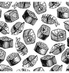 seamless sushi pattern vector image