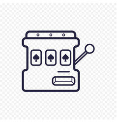 Slot mashine simple line icon one arm bandit thin vector