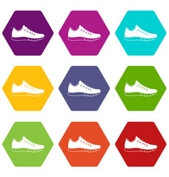 sneakers icon set color hexahedron vector image