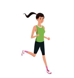Sport girl running exercise training vector