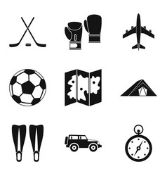 tourist transport icons set simple style vector image