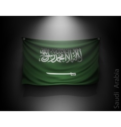 waving flag Saudi Arabia on a dark wall vector image vector image