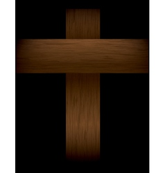Wooden cross in the shadows vector