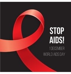 World Aids Day Red Awareness Realistic ribbon on vector image vector image