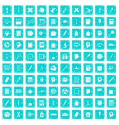 100 learning icons set grunge blue vector