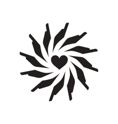 Flat icon in black and white hands heart vector image