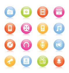 Colorful media icons vector