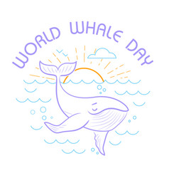 greeting cardworld whale day vector image