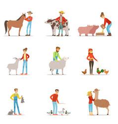 Farmers breeding livestock farm profession worker vector