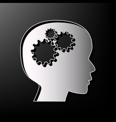 Thinking head sign gray 3d printed icon vector