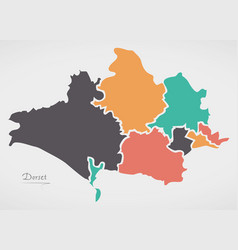 Dorset england map with states and modern round vector