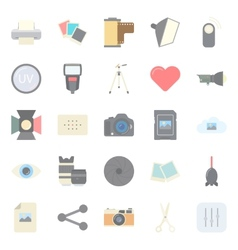 Photo equipment end editing flat icons set vector