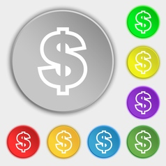 Dollar icon sign symbol on eight flat buttons vector