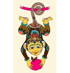Line art drawing of ethnic monkey in decorative vector