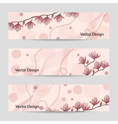 Set of horizontal banners with flowers vector