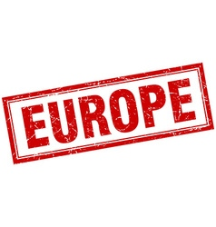Europe red square grunge stamp on white vector