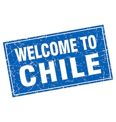 Chile blue square grunge welcome to stamp vector