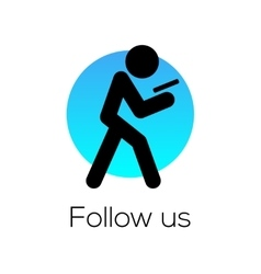 Follow us sign for social media community vector