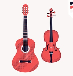 Violin and guitar icon vector