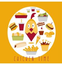 flat design of chicken fast food restaurant vector image