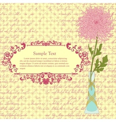 Background with chrysanthemum in vase and vintage vector image