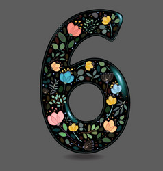 Black glared number six with watercolor flowers vector