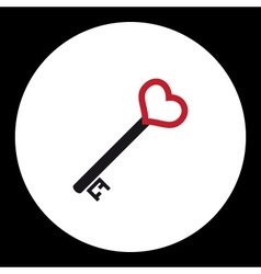 black nad red isolated simple old door key with vector image