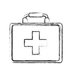 Blurred silhouette image cartoon first aid kit vector