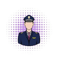 Captain of the aircraft comics icon vector image vector image