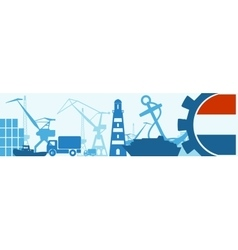 Cargo port netherlands flag in gear vector