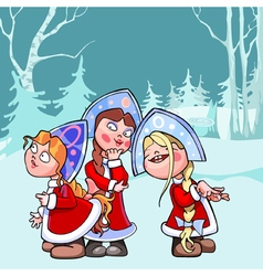 Cartoon funny snow maidens in the winter forest vector
